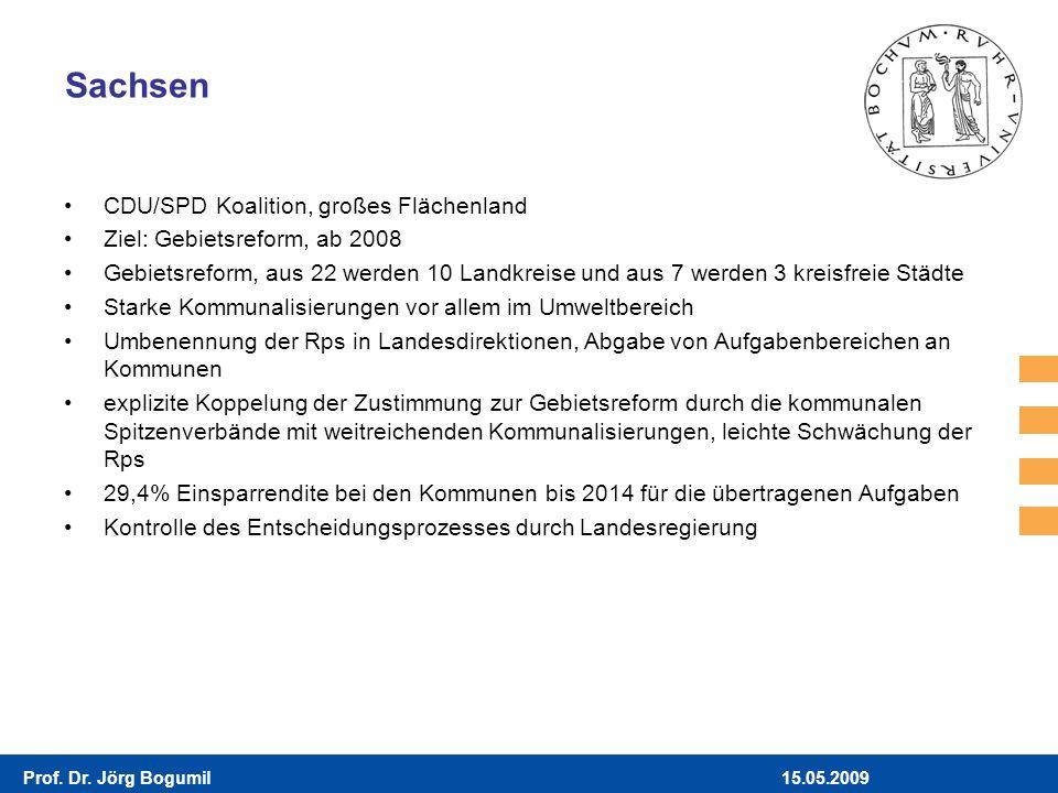 15.05.2009Prof. Dr. Jörg Bogumil Sachsen CDU/SPD Koalition, großes Flächenland Ziel: Gebietsreform, ab 2008 Gebietsreform, aus 22 werden 10 Landkreise