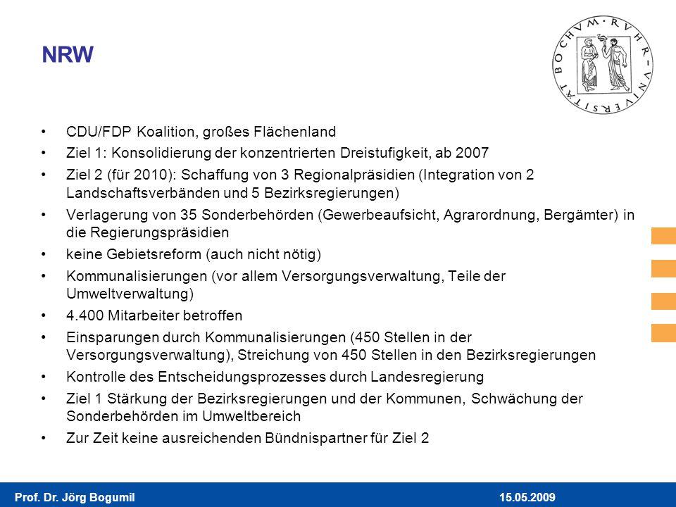 15.05.2009Prof. Dr. Jörg Bogumil NRW CDU/FDP Koalition, großes Flächenland Ziel 1: Konsolidierung der konzentrierten Dreistufigkeit, ab 2007 Ziel 2 (f