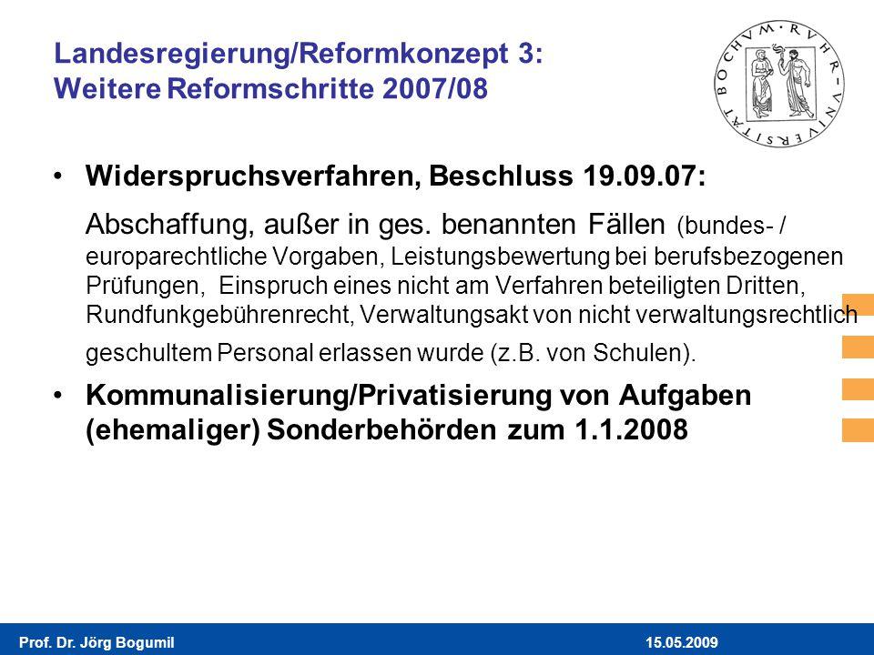 15.05.2009Prof. Dr. Jörg Bogumil Landesregierung/Reformkonzept 3: Weitere Reformschritte 2007/08 Widerspruchsverfahren, Beschluss 19.09.07: Abschaffun