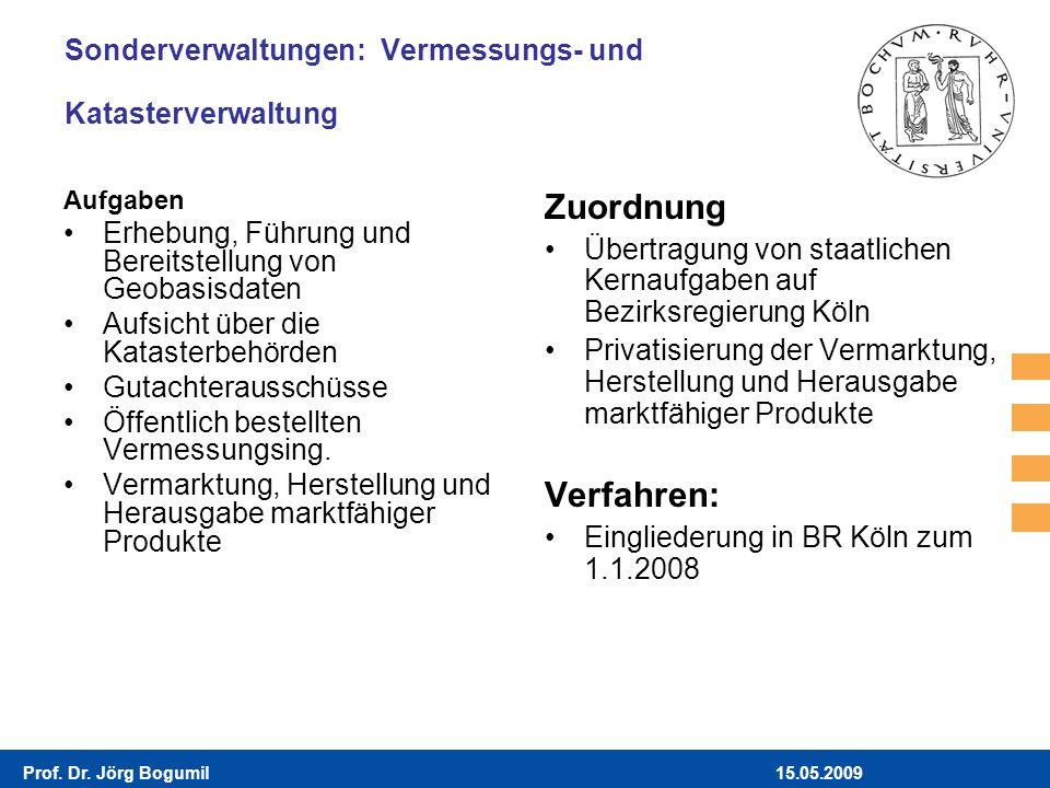 15.05.2009Prof. Dr. Jörg Bogumil Sonderverwaltungen: Vermessungs- und Katasterverwaltung Aufgaben Erhebung, Führung und Bereitstellung von Geobasisdat