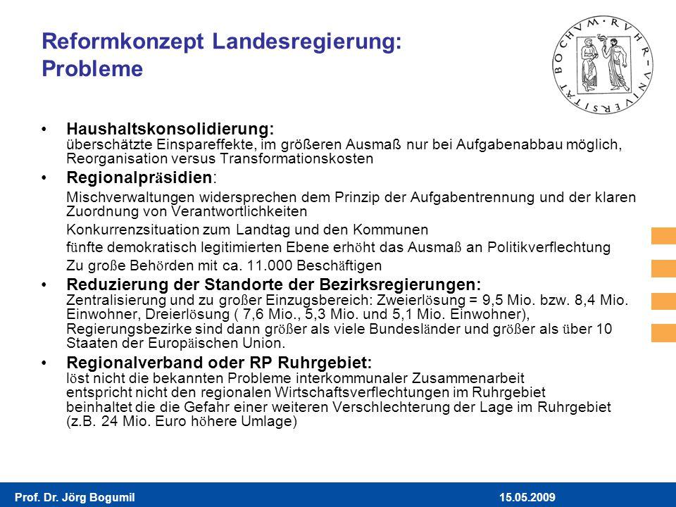 15.05.2009Prof. Dr. Jörg Bogumil Reformkonzept Landesregierung: Probleme Haushaltskonsolidierung: überschätzte Einspareffekte, im größeren Ausmaß nur