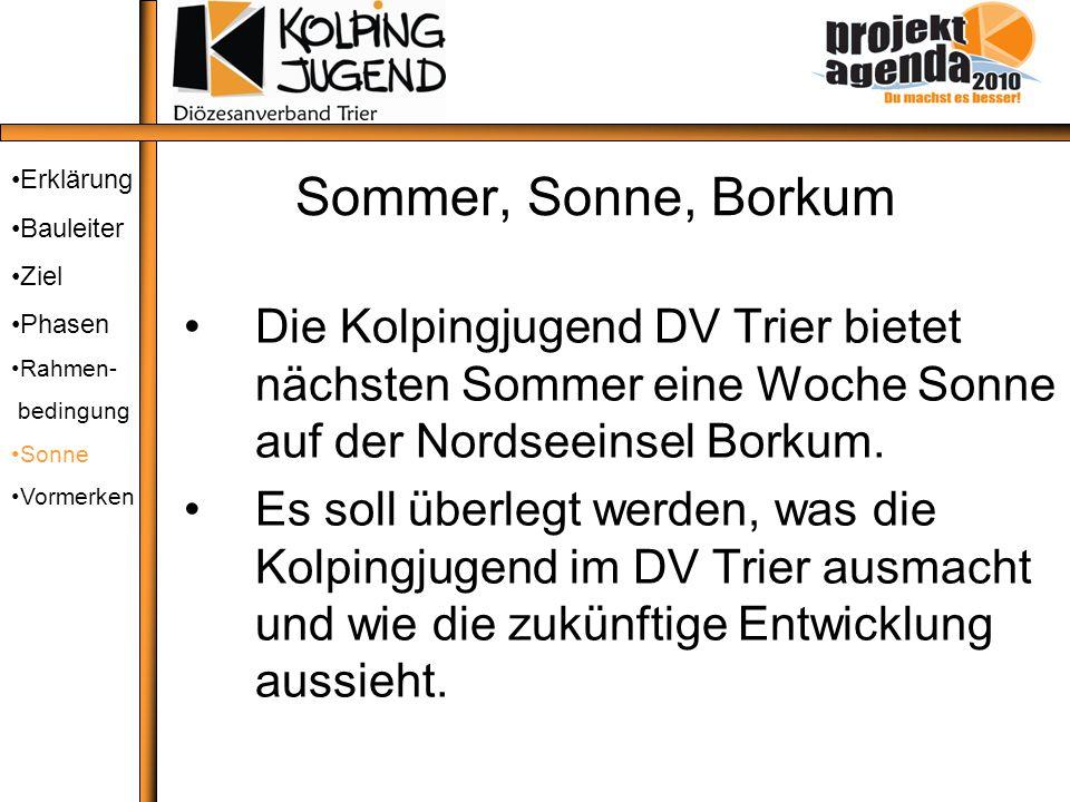 Sommer, Sonne, Borkum Die Kolpingjugend DV Trier bietet nächsten Sommer eine Woche Sonne auf der Nordseeinsel Borkum. Es soll überlegt werden, was die