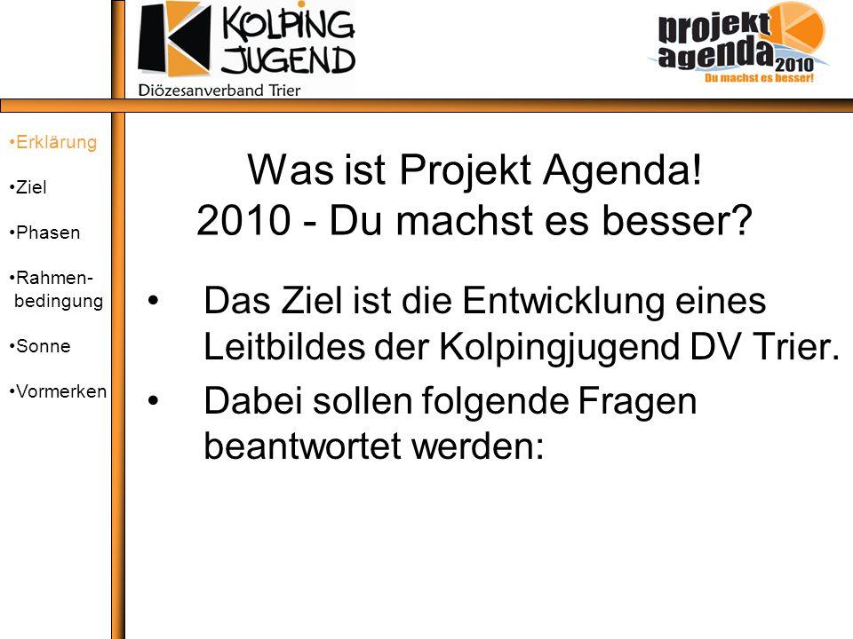 Was ist Projekt Agenda! 2010 - Du machst es besser? Das Ziel ist die Entwicklung eines Leitbildes der Kolpingjugend DV Trier. Dabei sollen folgende Fr