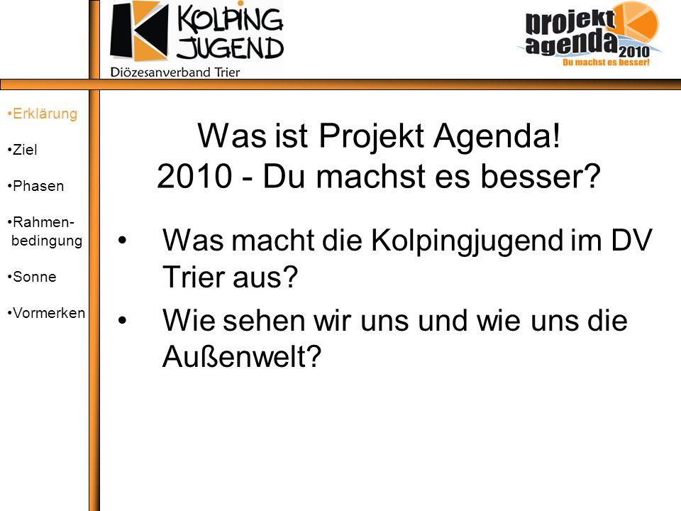 Was ist Projekt Agenda! 2010 - Du machst es besser? Was macht die Kolpingjugend im DV Trier aus? Wie sehen wir uns und wie uns die Außenwelt? Erklärun