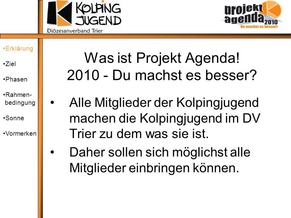 Was ist Projekt Agenda! 2010 - Du machst es besser? Alle Mitglieder der Kolpingjugend machen die Kolpingjugend im DV Trier zu dem was sie ist. Daher s