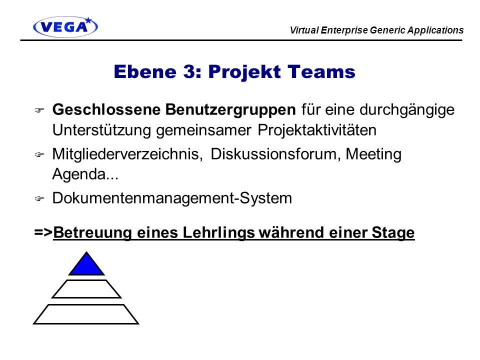 Virtual Enterprise Generic Applications Ebene 3: Projekt Teams F Geschlossene Benutzergruppen für eine durchgängige Unterstützung gemeinsamer Projektaktivitäten F Mitgliederverzeichnis, Diskussionsforum, Meeting Agenda...
