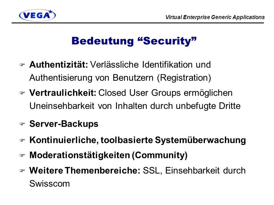 Virtual Enterprise Generic Applications Bedeutung Security F Authentizität: Verlässliche Identifikation und Authentisierung von Benutzern (Registration) F Vertraulichkeit: Closed User Groups ermöglichen Uneinsehbarkeit von Inhalten durch unbefugte Dritte F Server-Backups F Kontinuierliche, toolbasierte Systemüberwachung F Moderationstätigkeiten (Community) F Weitere Themenbereiche: SSL, Einsehbarkeit durch Swisscom