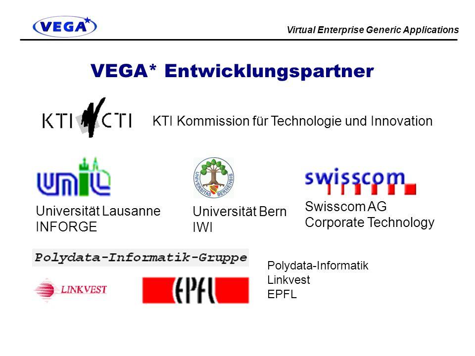 Virtual Enterprise Generic Applications VEGA* Entwicklungspartner KTI Kommission für Technologie und Innovation Universität Lausanne INFORGE Universität Bern IWI Swisscom AG Corporate Technology Polydata-Informatik Linkvest EPFL