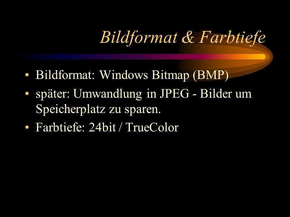 Bildformat & Farbtiefe Bildformat: Windows Bitmap (BMP) später: Umwandlung in JPEG - Bilder um Speicherplatz zu sparen.