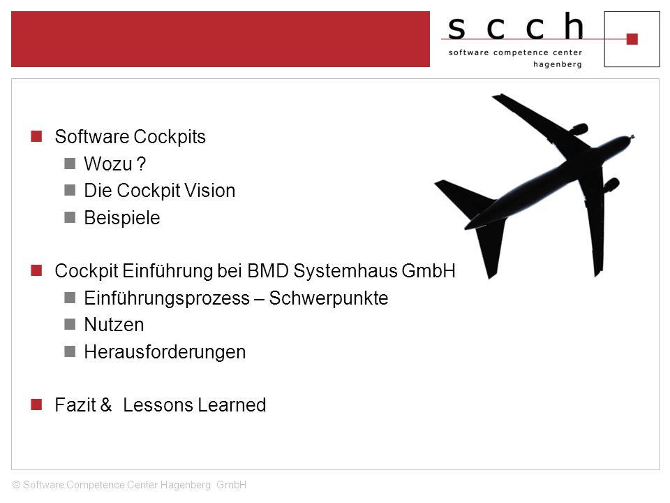 Software Cockpits Wozu ? Die Cockpit Vision Beispiele Cockpit Einführung bei BMD Systemhaus GmbH Einführungsprozess – Schwerpunkte Nutzen Herausforder