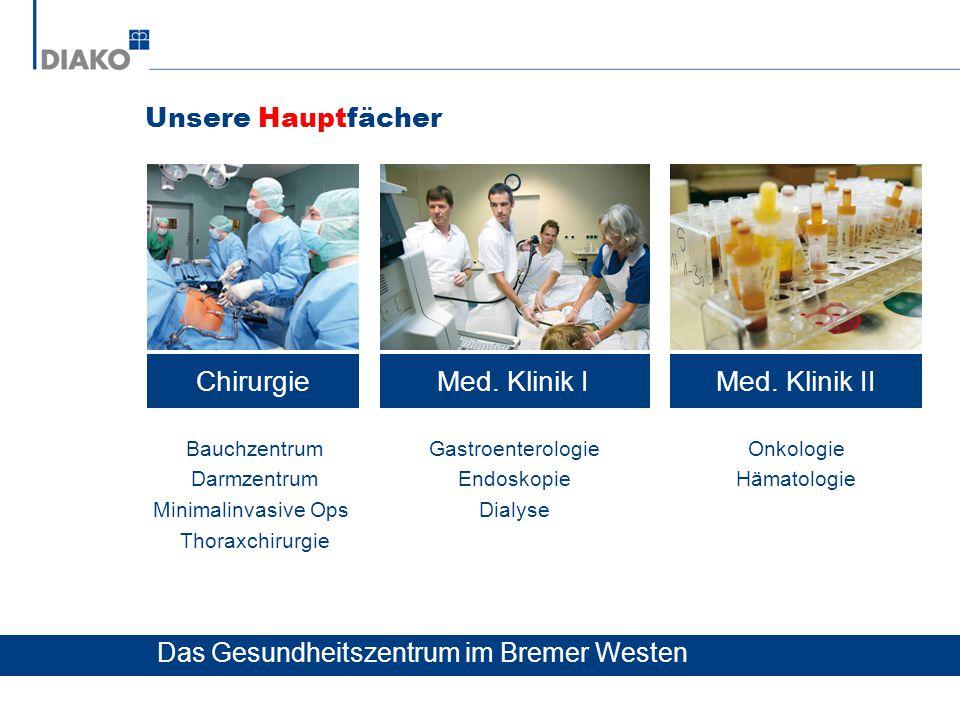 Unsere Hauptfächer ChirurgieMed. Klinik IMed. Klinik II Bauchzentrum Darmzentrum Minimalinvasive Ops Thoraxchirurgie Gastroenterologie Endoskopie Dial