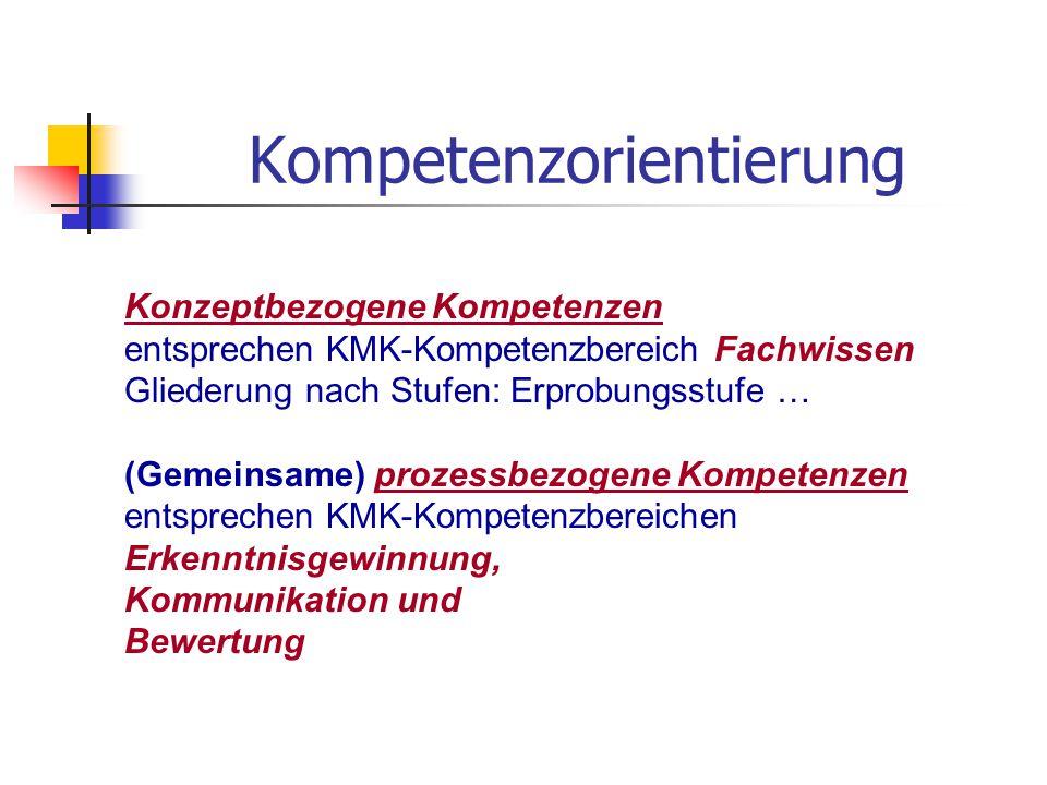 Kompetenzorientierung Konzeptbezogene Kompetenzen entsprechen KMK-Kompetenzbereich Fachwissen Gliederung nach Stufen: Erprobungsstufe … (Gemeinsame) p