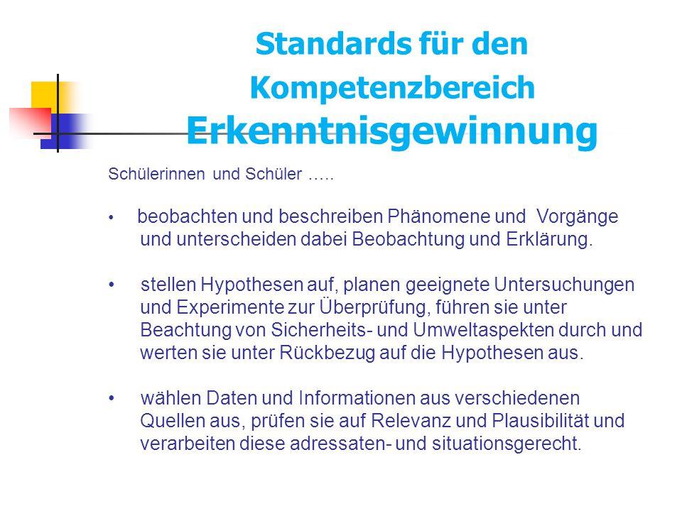 Standards für den Kompetenzbereich Erkenntnisgewinnung Schülerinnen und Schüler ….. beobachten und beschreiben Phänomene und Vorgänge und unterscheide