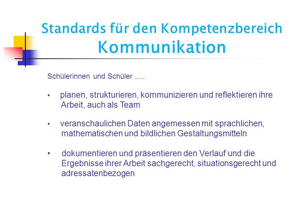 Standards für den Kompetenzbereich Kommunikation Schülerinnen und Schüler ….. planen, strukturieren, kommunizieren und reflektieren ihre Arbeit, auch