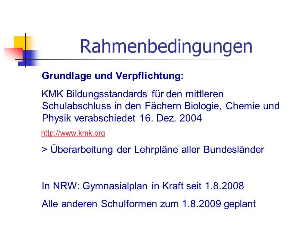 Rahmenbedingungen Grundlage und Verpflichtung: KMK Bildungsstandards für den mittleren Schulabschluss in den Fächern Biologie, Chemie und Physik verab