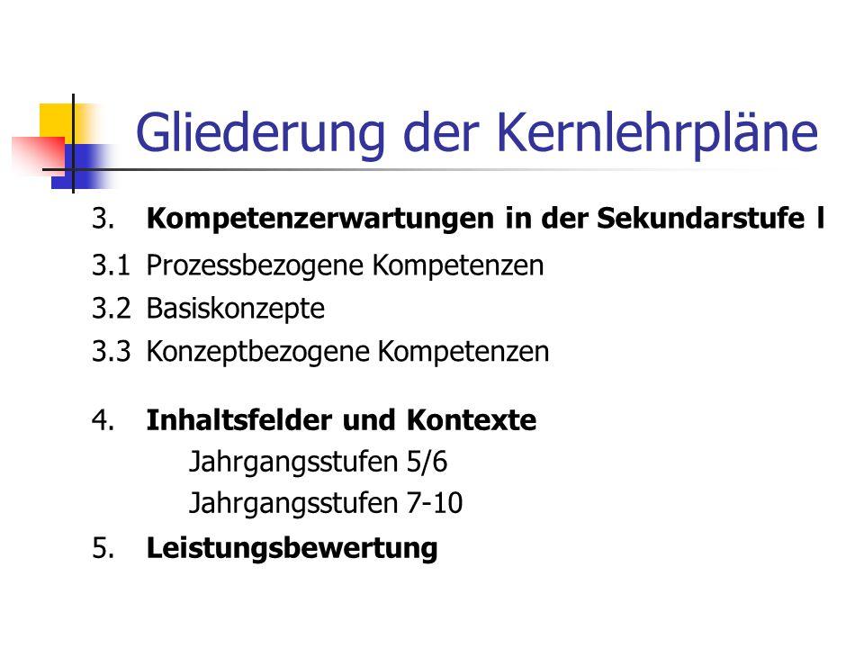 Gliederung der Kernlehrpläne 3.Kompetenzerwartungen in der Sekundarstufe l 3.1Prozessbezogene Kompetenzen 3.2Basiskonzepte 3.3Konzeptbezogene Kompeten