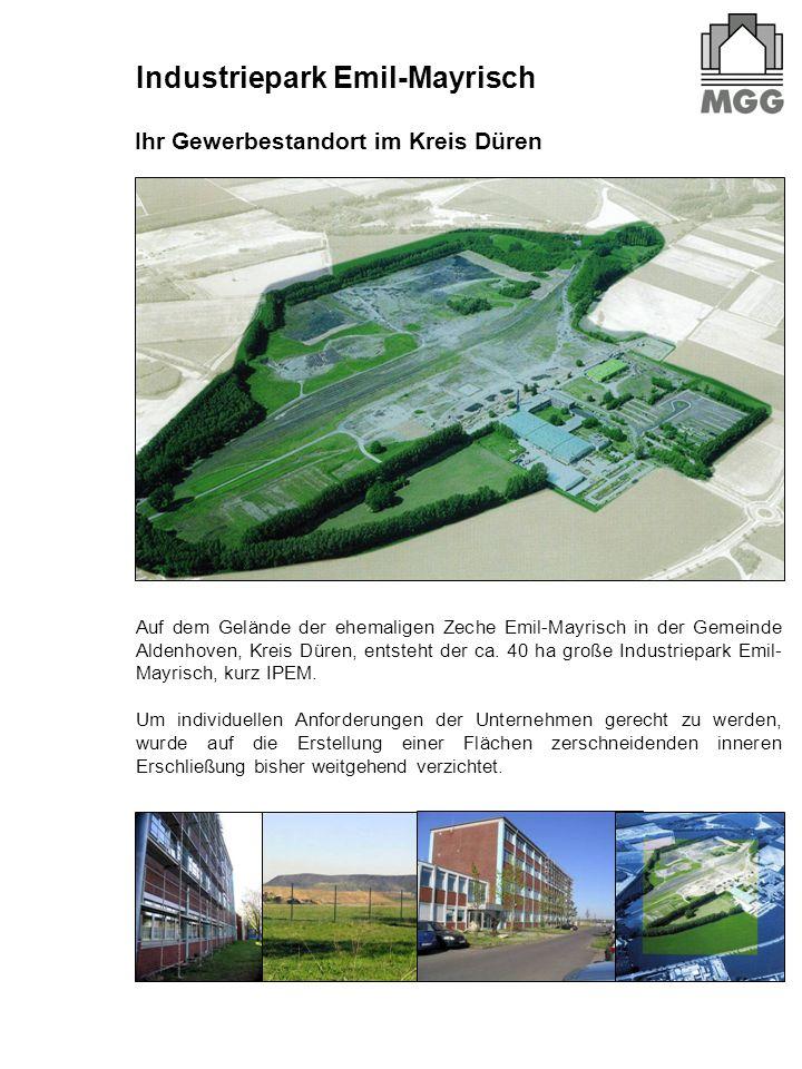 Auf dem Gelände der ehemaligen Zeche Emil-Mayrisch in der Gemeinde Aldenhoven, Kreis Düren, entsteht der ca. 40 ha große Industriepark Emil- Mayrisch,