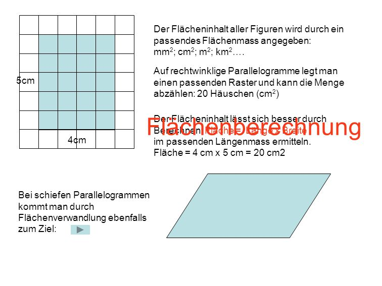 Der Flächeninhalt aller Figuren wird durch ein passendes Flächenmass angegeben: mm 2 ; cm 2 ; m 2 ; km 2 …. 4cm 5cm Auf rechtwinklige Parallelogramme