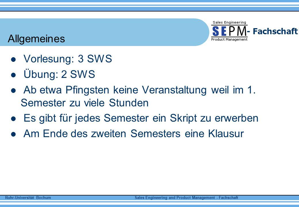 Ruhr-Universität Bochum Sales Engineering and Product Management - Fachschaft - Fachschaft Allgemeines Vorlesung: 3 SWS Übung: 2 SWS Ab etwa Pfingsten