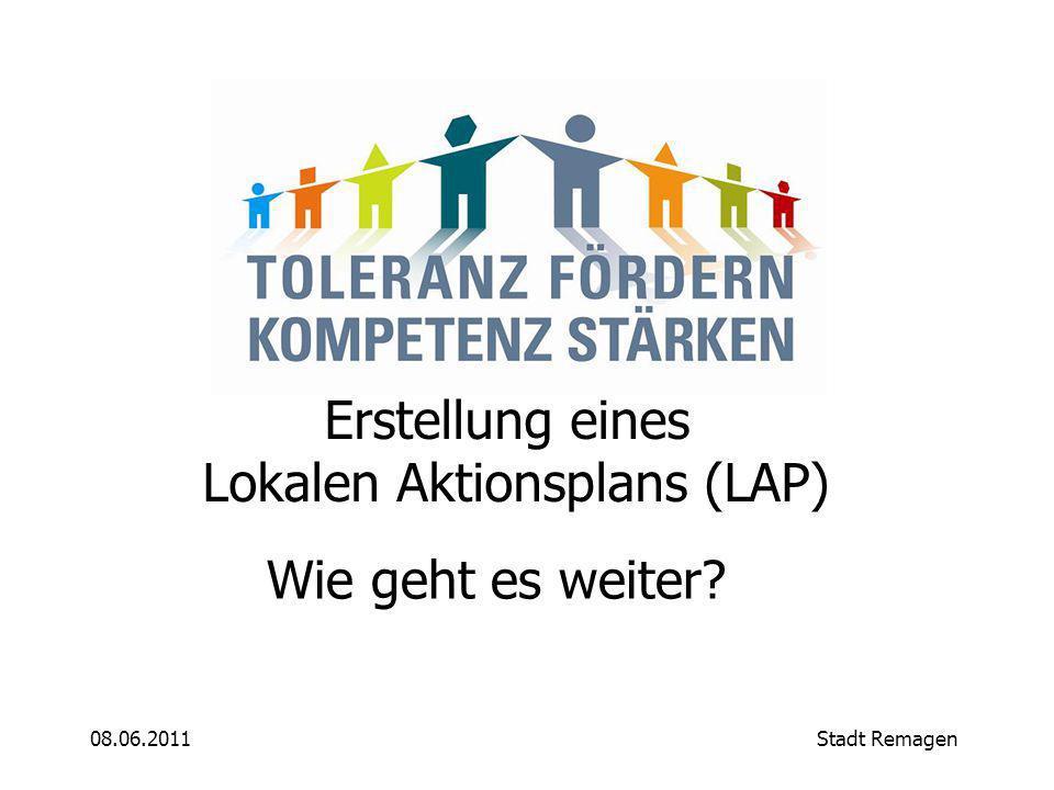 08.06.2011Stadt Remagen Wie geht es weiter Erstellung eines Lokalen Aktionsplans (LAP)