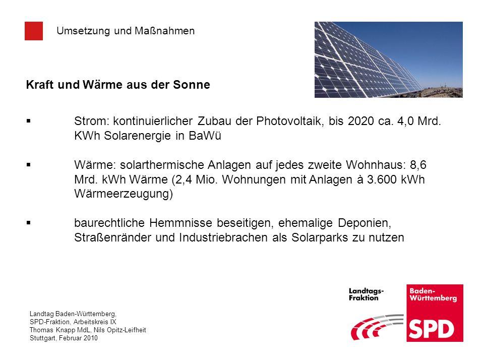 Landtag Baden-Württemberg, SPD-Fraktion, Arbeitskreis IX Thomas Knapp MdL, Nils Opitz-Leifheit Stuttgart, Februar 2010 Umsetzung und Maßnahmen Kraft u
