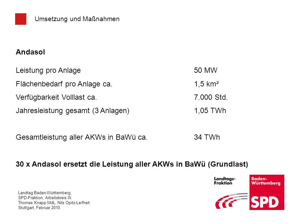 Landtag Baden-Württemberg, SPD-Fraktion, Arbeitskreis IX Thomas Knapp MdL, Nils Opitz-Leifheit Stuttgart, Februar 2010 Umsetzung und Maßnahmen Andasol