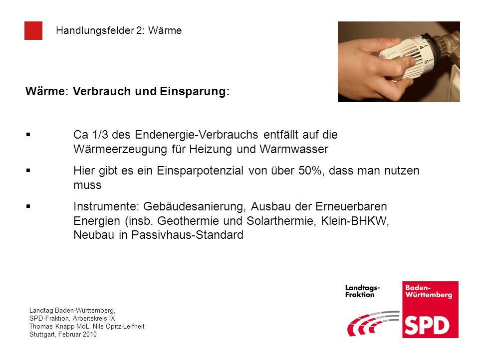 Landtag Baden-Württemberg, SPD-Fraktion, Arbeitskreis IX Thomas Knapp MdL, Nils Opitz-Leifheit Stuttgart, Februar 2010 Handlungsfelder 2: Wärme Wärme: