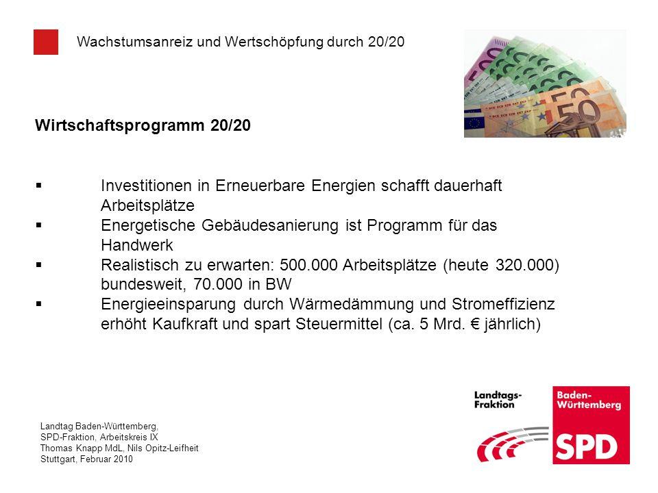 Landtag Baden-Württemberg, SPD-Fraktion, Arbeitskreis IX Thomas Knapp MdL, Nils Opitz-Leifheit Stuttgart, Februar 2010 Wachstumsanreiz und Wertschöpfu