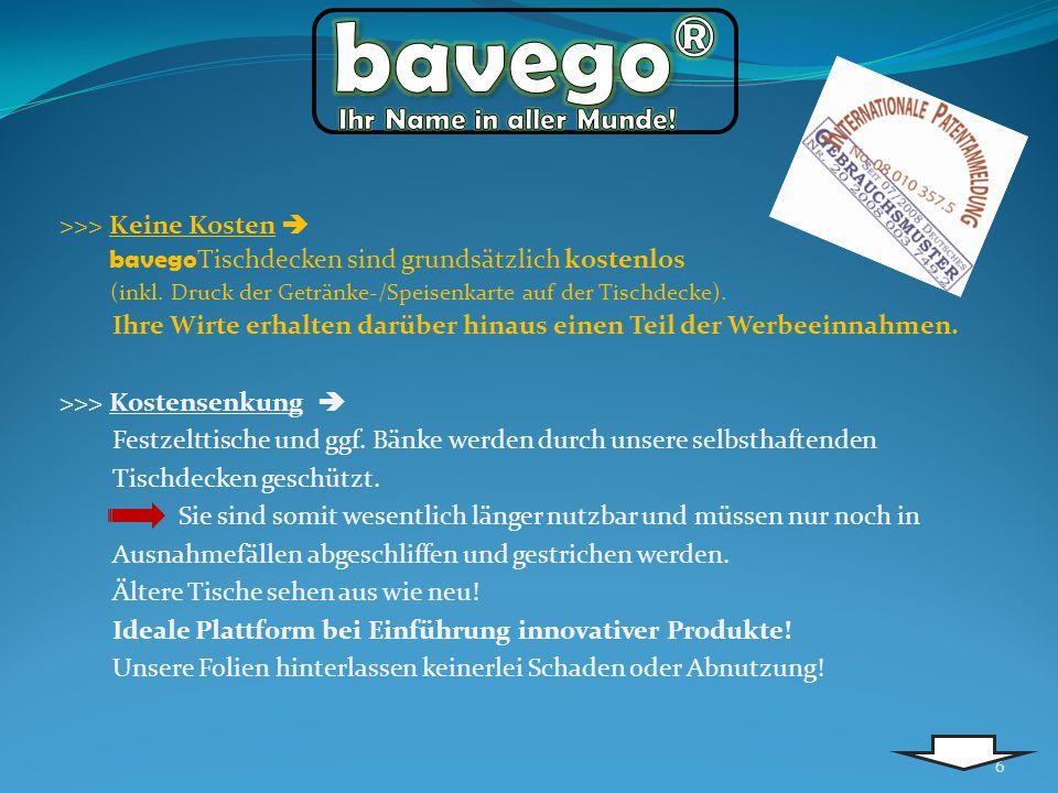 >>> Keine Kosten bavego Tischdecken sind grundsätzlich kostenlos (inkl. Druck der Getränke-/Speisenkarte auf der Tischdecke). Ihre Wirte erhalten darü