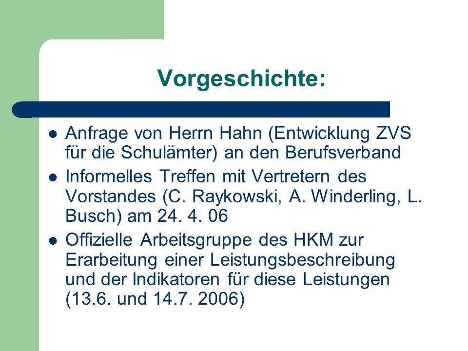 Vorgeschichte: Anfrage von Herrn Hahn (Entwicklung ZVS für die Schulämter) an den Berufsverband Informelles Treffen mit Vertretern des Vorstandes (C.