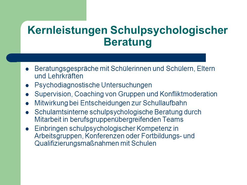 Teilbereiche Schulpsychologischer Tätigkeit Systemberatung Schulübergreifende Schulpsychologische Beratung Schulpsychologische Einzelfallberatung