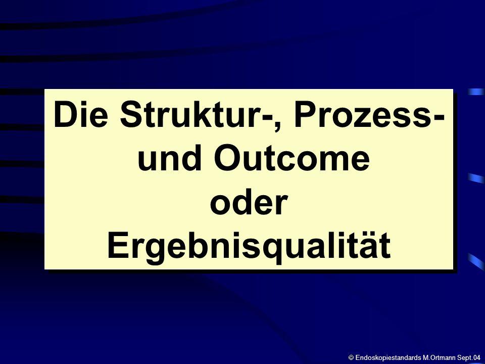 Die Struktur-, Prozess- und Outcome oder Ergebnisqualität Die Struktur-, Prozess- und Outcome oder Ergebnisqualität Endoskopiestandards M.Ortmann Sept