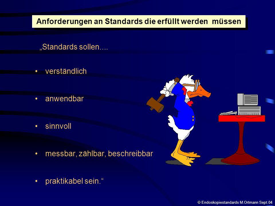 verständlich anwendbar sinnvoll messbar, zählbar, beschreibbar praktikabel sein. Anforderungen an Standards die erfüllt werden müssen Standards sollen