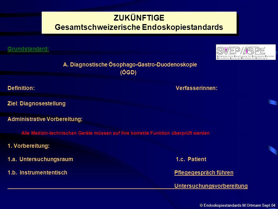 Grundstandard: A. Diagnostische Ösophago-Gastro-Duodenoskopie (ÖGD) Definition: Verfasserinnen: Ziel: Diagnosestellung Administrative Vorbereitung: Al