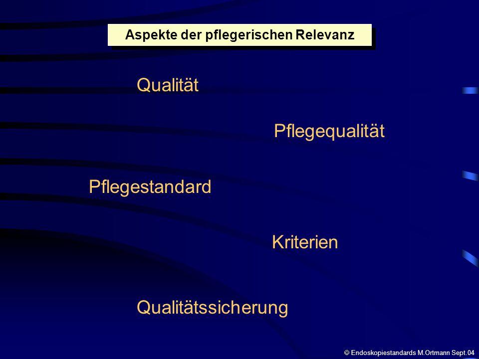 Qualität Pflegequalität Pflegestandard Kriterien Qualitätssicherung Aspekte der pflegerischen Relevanz Endoskopiestandards M.Ortmann Sept.04