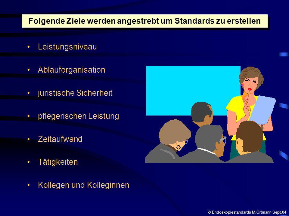keine starre Arbeitsgrundlage systematisch einführen angesetzter Probelauf Umsetzung muss kontrollierbar sein integrieren von Verbesserungen Beim Einführen von Standards muss beachtet werden Endoskopiestandards M.Ortmann Sept.04