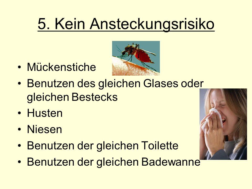 Mückenstiche Benutzen des gleichen Glases oder gleichen Bestecks Husten Niesen Benutzen der gleichen Toilette Benutzen der gleichen Badewanne 5. Kein