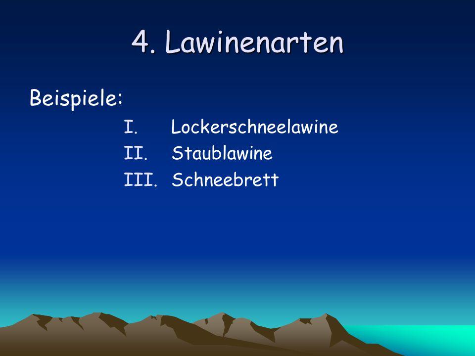 4. Lawinenarten Beispiele: I.Lockerschneelawine II.Staublawine III.Schneebrett