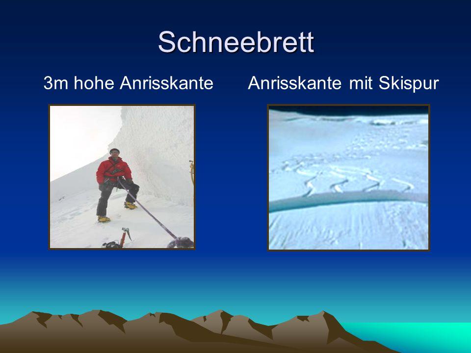 Schneebrett 3m hohe AnrisskanteAnrisskante mit Skispur