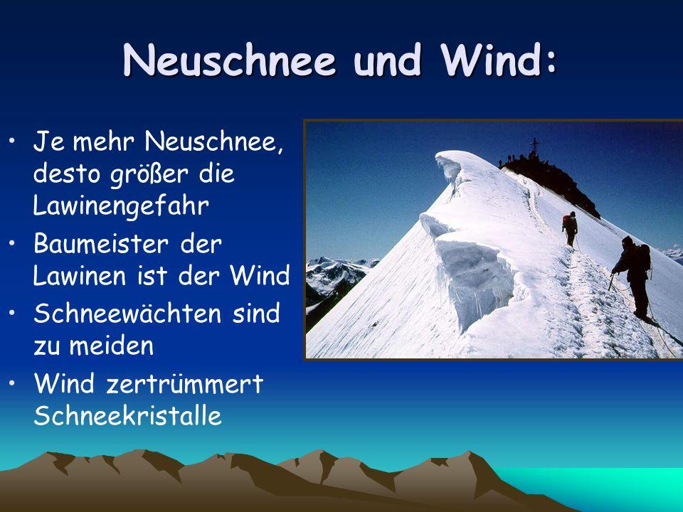Neuschnee und Wind: Je mehr Neuschnee, desto größer die Lawinengefahr Baumeister der Lawinen ist der Wind Schneewächten sind zu meiden Wind zertrümmert Schneekristalle
