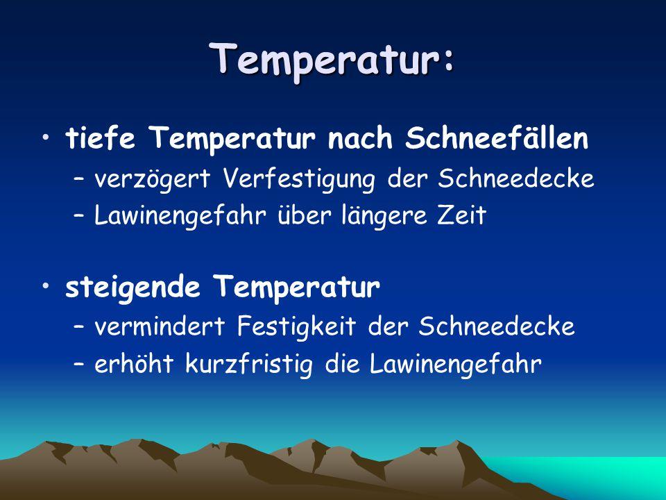 Temperatur: tiefe Temperatur nach Schneefällen –verzögert Verfestigung der Schneedecke –Lawinengefahr über längere Zeit steigende Temperatur –vermindert Festigkeit der Schneedecke –erhöht kurzfristig die Lawinengefahr