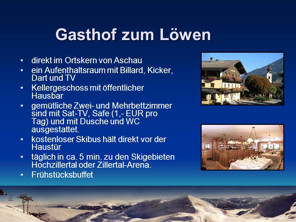 Gasthof zum Löwen direkt im Ortskern von Aschau ein Aufenthaltsraum mit Billard, Kicker, Dart und TV Kellergeschoss mit öffentlicher Hausbar gemütlich