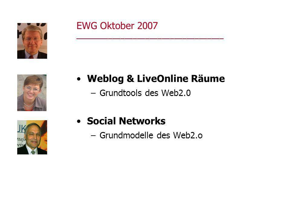 EWG Oktober 2007 ____________________________________ Weblog & LiveOnline Räume –Grundtools des Web2.0 Social Networks –Grundmodelle des Web2.o