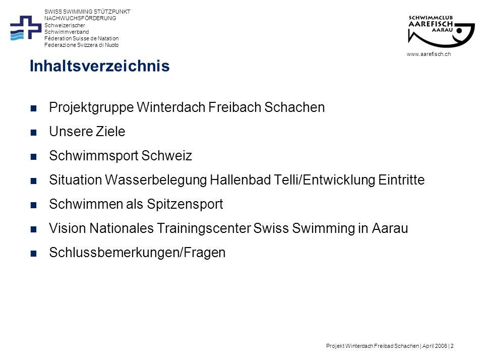 Projekt Winterdach Freibad Schachen | April 2006 | 2 Schweizerischer Schwimmverband Féderation Suisse de Natation Federazione Svizzera di Nuoto SWISS SWIMMING STÜTZPUNKT NACHWUCHSFÖRDERUNG www.aarefisch.ch Inhaltsverzeichnis Projektgruppe Winterdach Freibach Schachen Unsere Ziele Schwimmsport Schweiz Situation Wasserbelegung Hallenbad Telli/Entwicklung Eintritte Schwimmen als Spitzensport Vision Nationales Trainingscenter Swiss Swimming in Aarau Schlussbemerkungen/Fragen