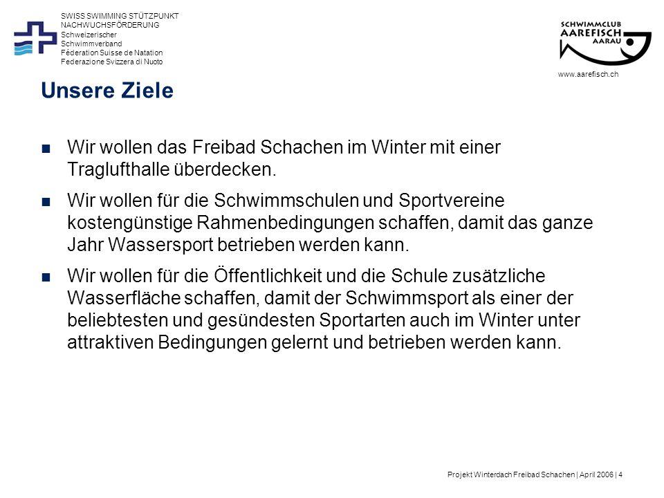 Projekt Winterdach Freibad Schachen | April 2006 | 15 Schweizerischer Schwimmverband Féderation Suisse de Natation Federazione Svizzera di Nuoto SWISS SWIMMING STÜTZPUNKT NACHWUCHSFÖRDERUNG Vision Nationales Trainingscenter Swiss Swimming in Aarau www.aarefisch.ch Standard NLZ Geregelter, auf den Sport ausgerichteter Tagesablauf (im Idealfall kompromisslos): –07.00 – 09.00 Training –09.30 – 15.00 Ausbildung/Beruf –16.00 – 18.00 Training –2-3x pro Woche aktive Erholung –2-3x pro Woche Trockentraining (Kraft, Schnelligkeit, Fitness, Koordination) –10-15 Wochen Trainingslager (z.T.