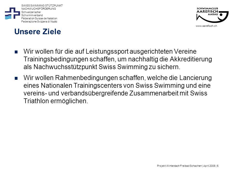 Projekt Winterdach Freibad Schachen | April 2006 | 6 Schweizerischer Schwimmverband Féderation Suisse de Natation Federazione Svizzera di Nuoto SWISS SWIMMING STÜTZPUNKT NACHWUCHSFÖRDERUNG Schwimmsport Schweiz Schwimmverband = Dachorganisation von: –170 Vereinen –28 Stützpunkten für Nachwuchsförderung –4200 Lizenzierten Top 3 der Breiten- und Volkssportarten Profitiert vom Wellness-/Fitness-Boom Schwimmen gehört zu den am meisten ausgeübten Sportarten der Schweizer Über 50% der Bevölkerung geben Schwimmen als Sportart an, die sie im Verlauf der letzten 12 Monate aktiv ausgeübt haben Aktive Sportler nennen Schwimmen in 1.
