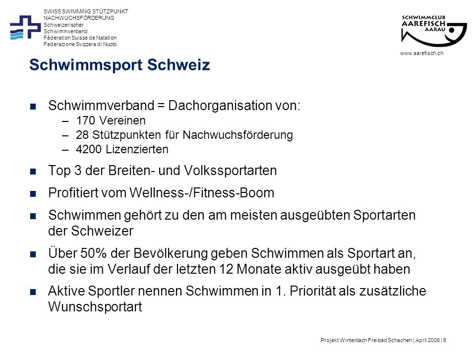 Projekt Winterdach Freibad Schachen | April 2006 | 7 Schweizerischer Schwimmverband Féderation Suisse de Natation Federazione Svizzera di Nuoto SWISS SWIMMING STÜTZPUNKT NACHWUCHSFÖRDERUNG Schwimmsport Schweiz Durchschnittsalter 41 Jahre, Frauenanteil beträgt 61% Bei den 14 - 29 Jährigen wird Schwimmen am meisten ausgeübt (64% der Wohnbevölkerung) und ist in dieser Altersstufe beliebteste Sportart.
