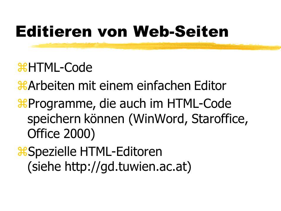 Editieren von Web-Seiten zHTML-Code zArbeiten mit einem einfachen Editor zProgramme, die auch im HTML-Code speichern können (WinWord, Staroffice, Offi