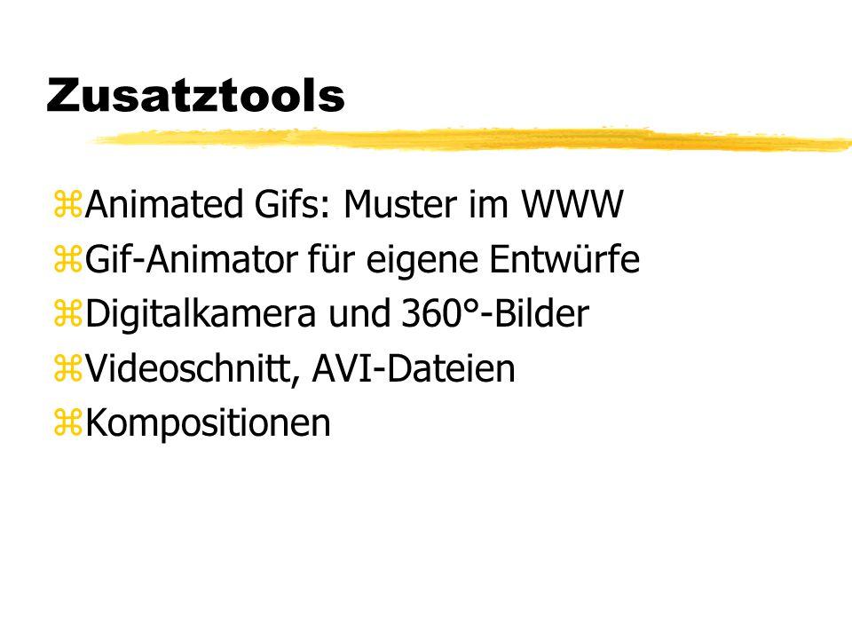 Zusatztools zAnimated Gifs: Muster im WWW zGif-Animator für eigene Entwürfe zDigitalkamera und 360°-Bilder zVideoschnitt, AVI-Dateien zKompositionen