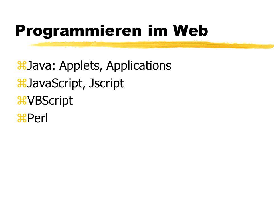 Programmieren im Web zJava: Applets, Applications zJavaScript, Jscript zVBScript zPerl